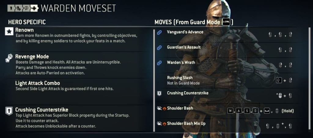 For Honor Warden Moveset