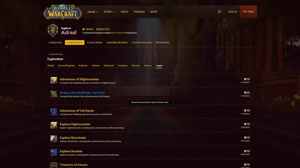 WoW Profile Page Achievements