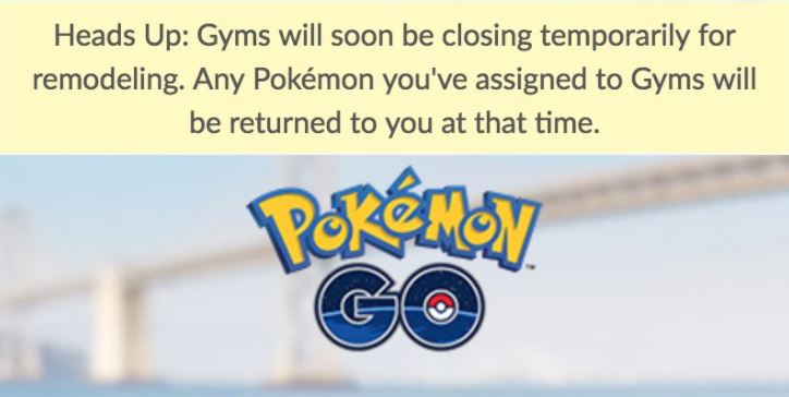 pokemon go gyms closing
