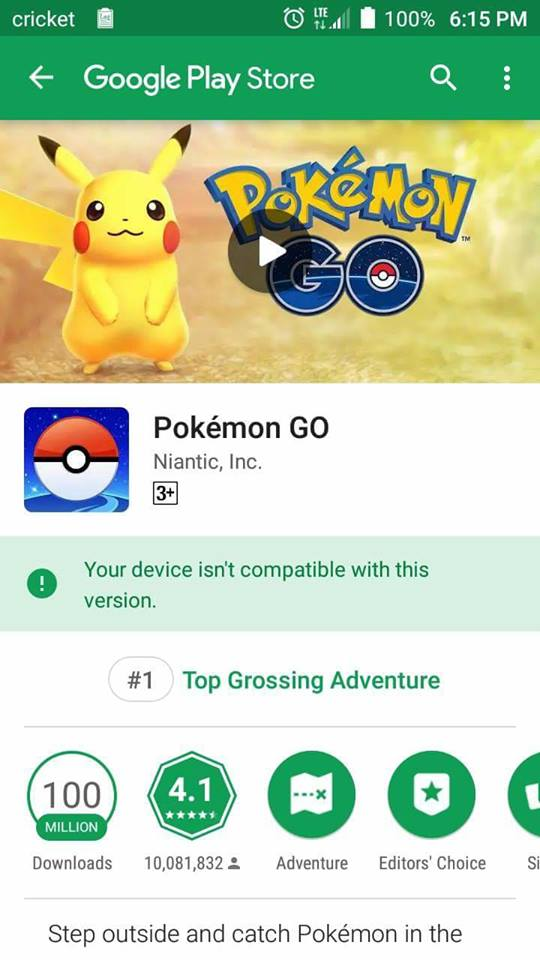 Pokemon Go Device Isn't Compatible with this Update Note