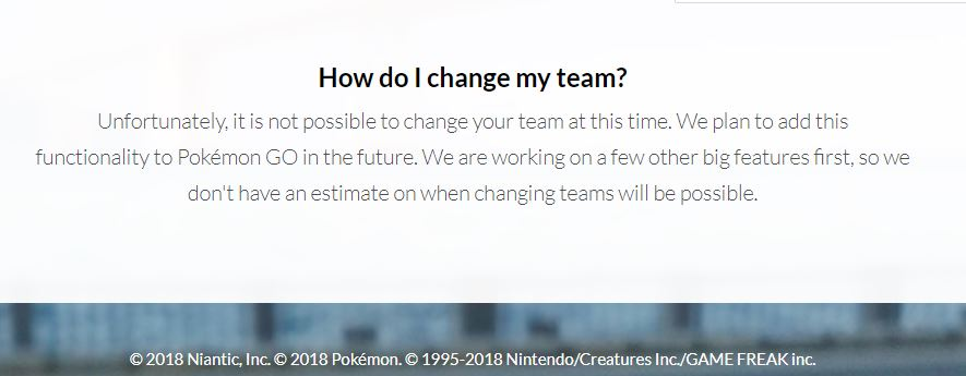 pokemon go changing teams feature