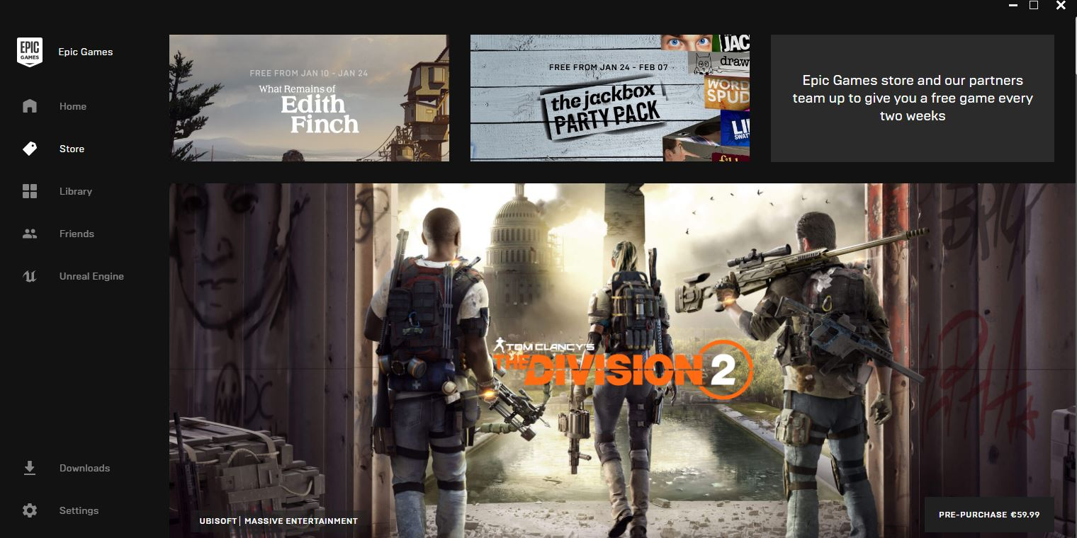 Photo of The Division 2 already on the first page of Epic Games' Store
