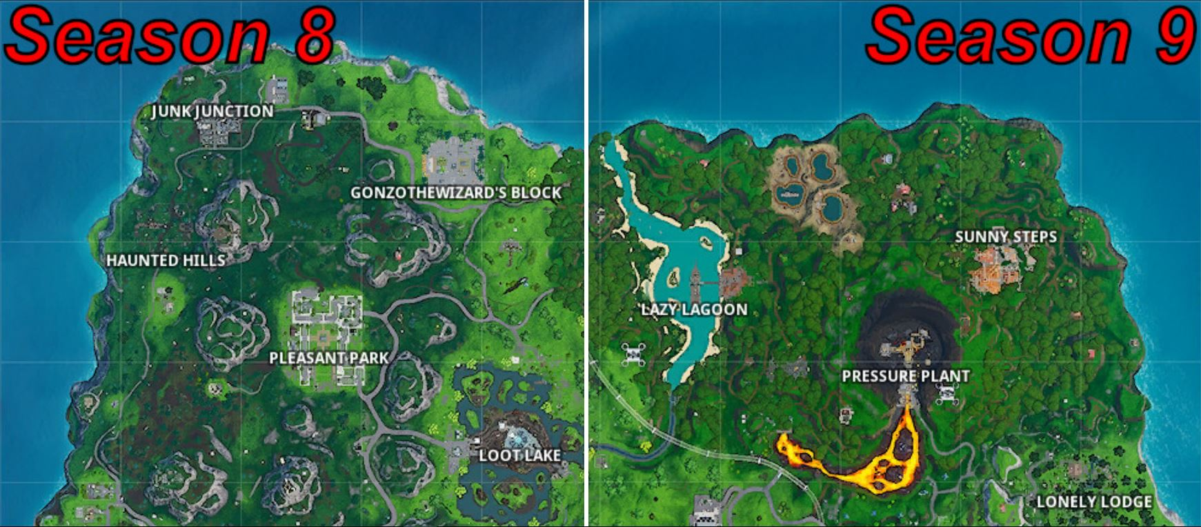 Photo of Fortnite Season 8 vs Season 9 Map Comparison