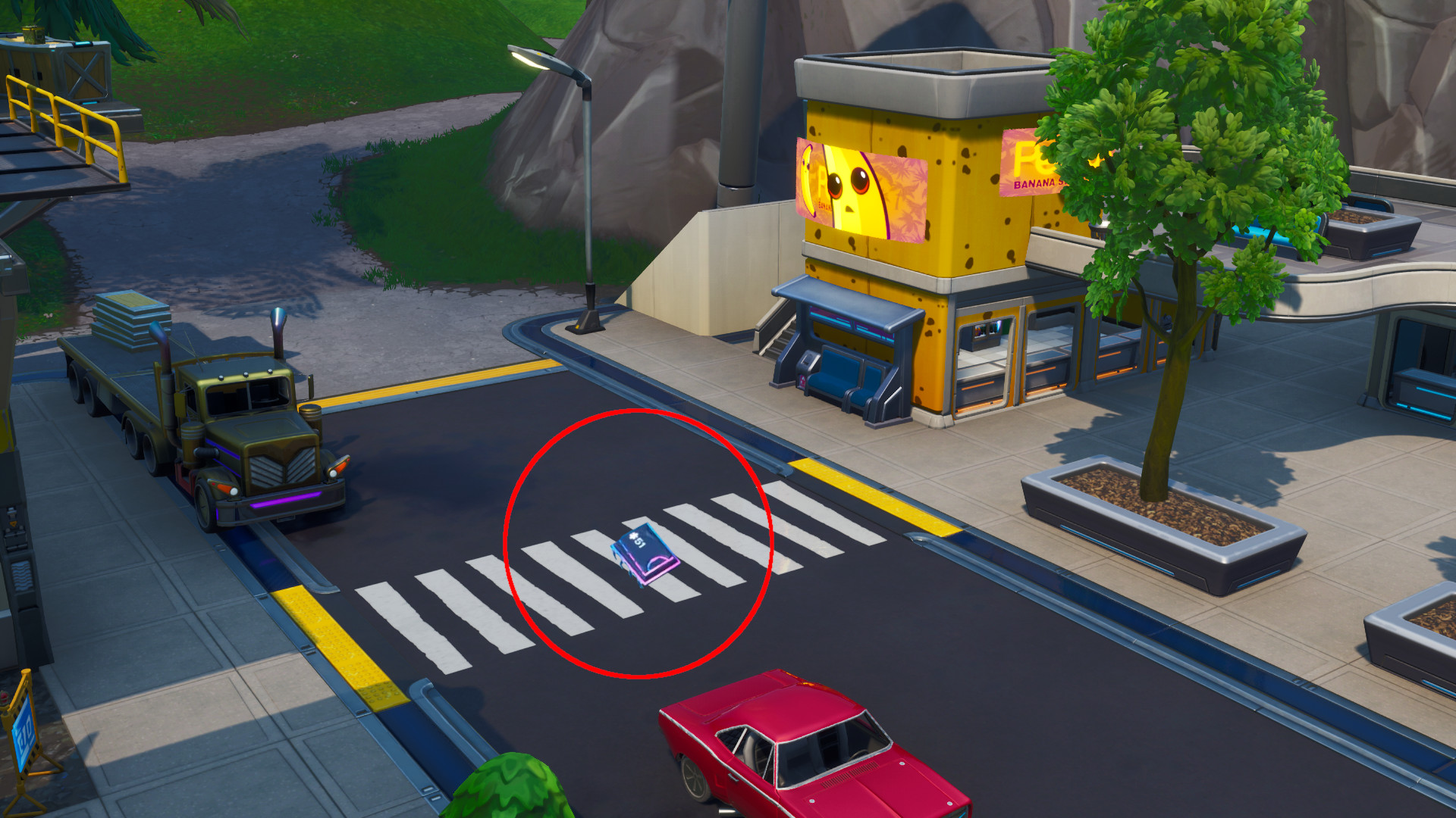 Photo of Fortnite Fortbyte #51 Accessible by Using the Cluck Strut Emoticon in Front of Peely's Banana Stand
