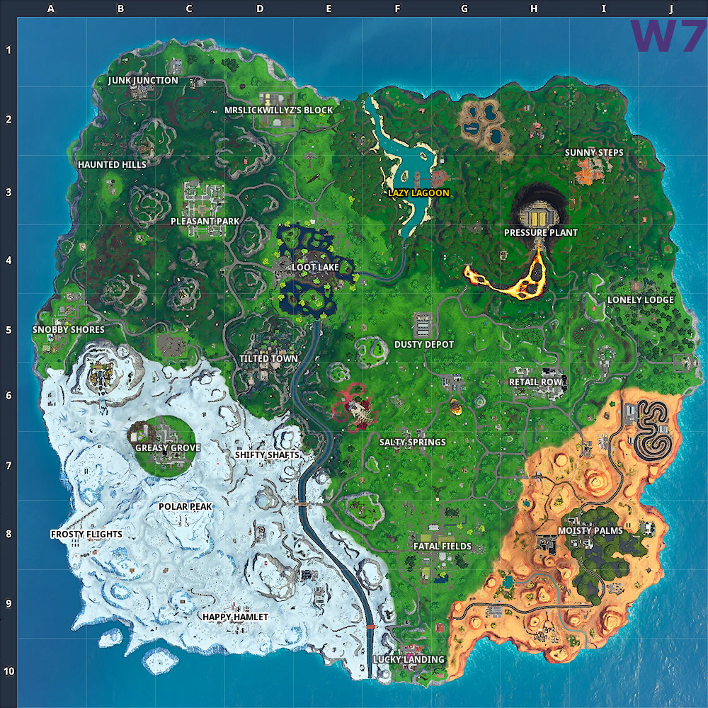 Fortnite Season 10: Week 6 (10 20) vs Week 7 (10 30) map